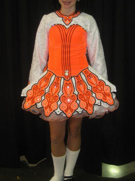 Dance Net Orange And White Dress For 11 12 Year Old